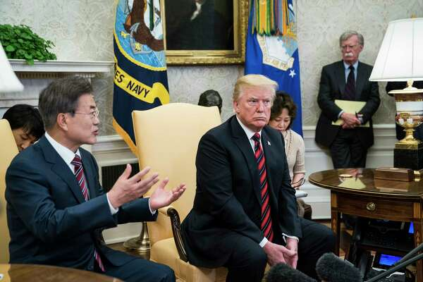 President Donald Trump with South Korean President Moon Jae-in in the Oval Office. Moon pushed to keep the summit with the North on track.