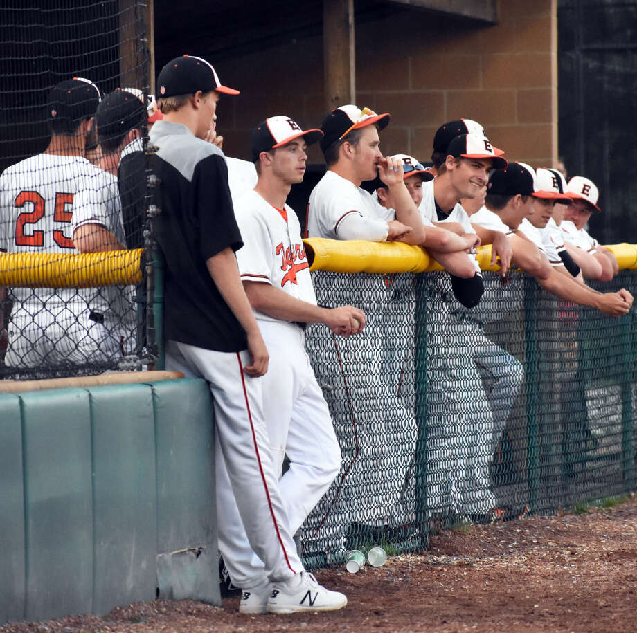 The EHS bench watches as the Tigers close out a 4-2 win over Waterloo on Monday at EHS.