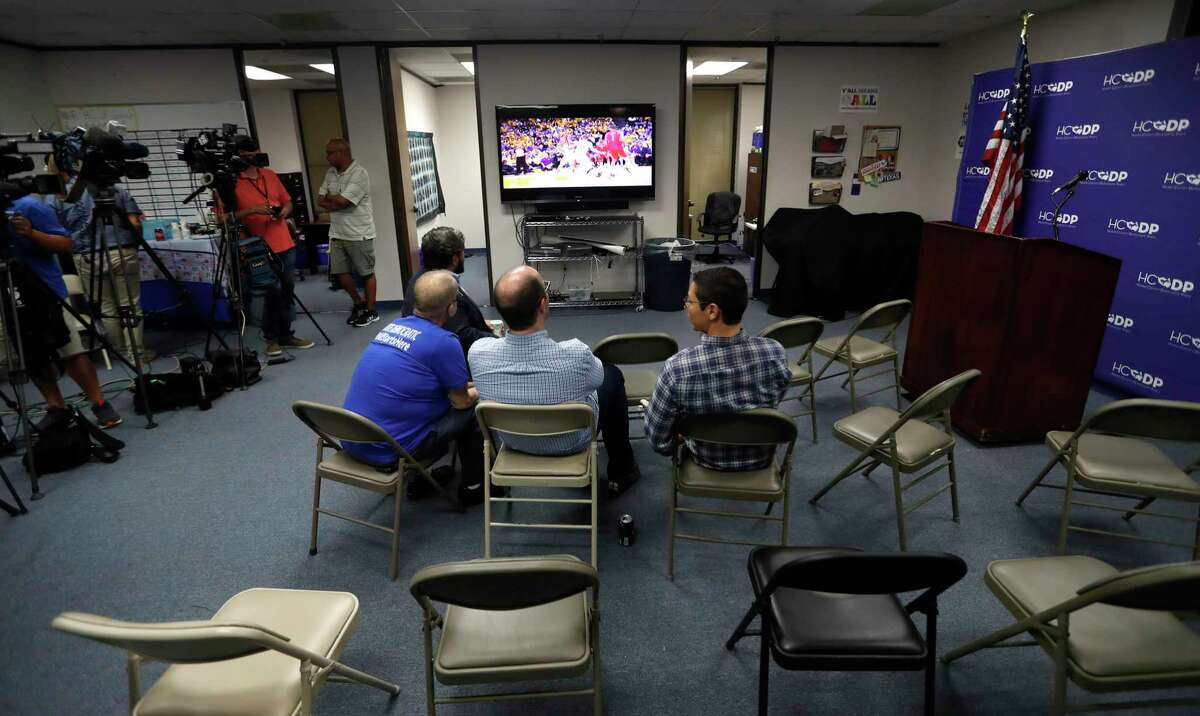 Supporters watch the Rockets game while waiting at an election watch party for Andrew White, Democratic candidate for governor, as they wait for returns come during the runoff against Lupe Valdez at the Harris County Democratic Party Headquarters, Tuesday, May 22, 2018, in Houston.