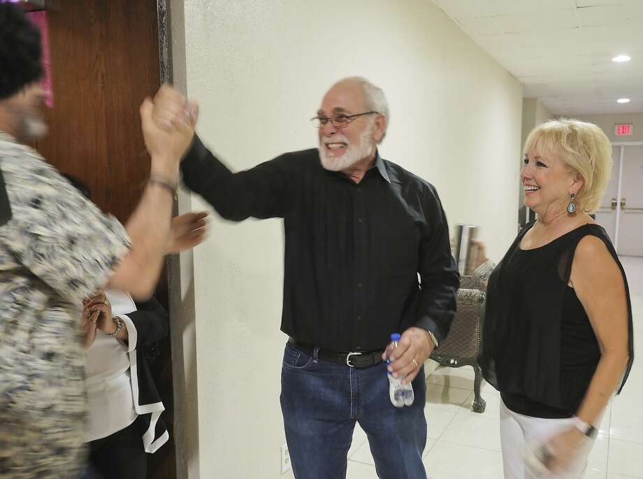 Terry Johnson is congratulated 05/22/18 night following election results where he won the Republican vote for Midland County Judge. Tim Fischer/Reporter-Telegram Photo: Tim Fischer/Midland Reporter-Telegram