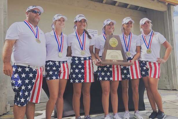 The Andrews girls golf team poses with the Class 4A state championship trophy after winning the program's eighth consecutive state title, Tuesday at Marble Falls' Slick Rock Golf Course at Horseshoe Bay. From left, coach Jeff Williamson, Paige Jennings, Rachel Huffman, Kinzee McAllister, Macy Schulze and Skyler Strube. Courtesy photo.