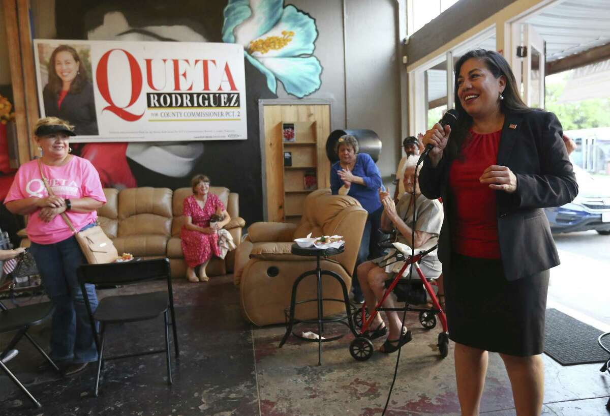 Queta Rodriguez, shown in May, challenged the incumbent, Bexar County Commissioner Paul Elizondo in the Democratic primary election this year. Both made it into a runoff in May, which Elizondo won by a narrow margin.