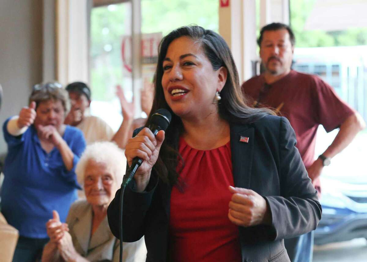 Challenger Queta Rodriguez Scherer for Bexar County Commissioner, Precinct 2 awaits election results with supporters on Tuesday, May 22, 2018. While she lost to incumbent Paul Elizondo, she is again vying for the position in the 2020 Democratic primary.