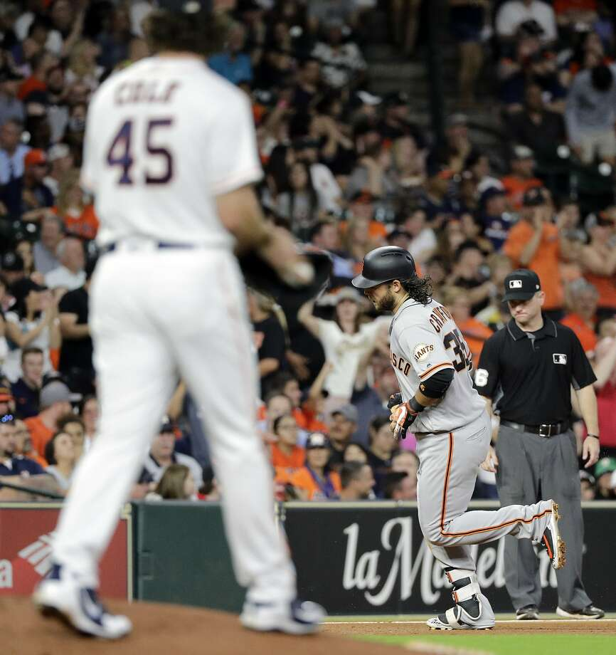 San Francisco Giants' Brandon Crawford (35) runs the bases after hitting a two-run home run off Houston Astros starting pitcher Gerrit Cole (45) during the fifth inning of a baseball game Tuesday, May 22, 2018, in Houston. (AP Photo/David J. Phillip) Photo: David J. Phillip / Associated Press