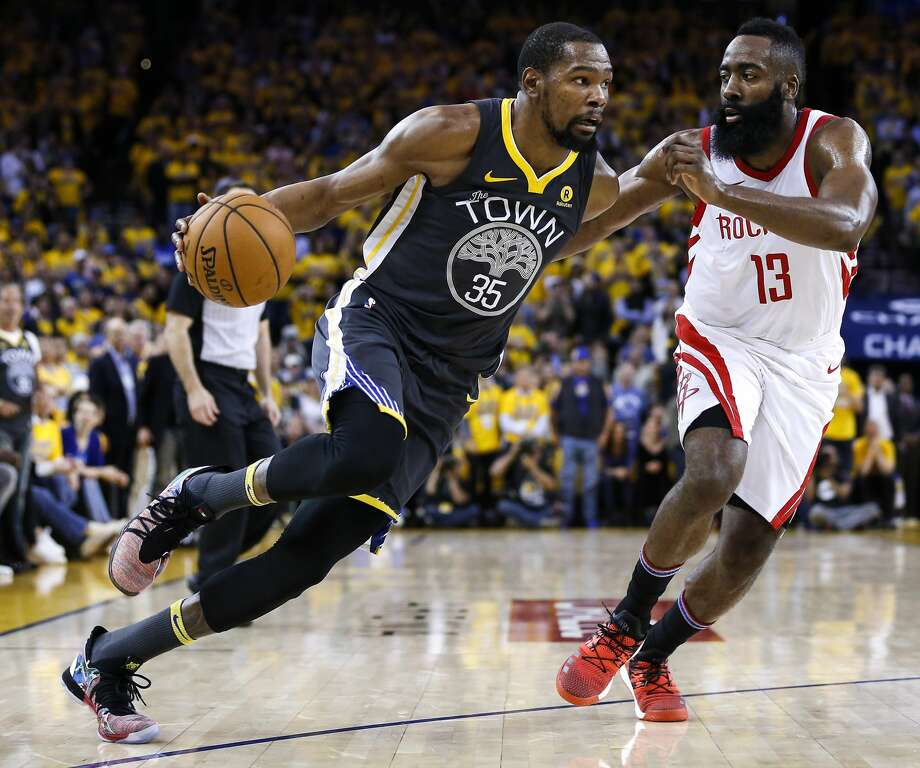 James Harden and the Rockets were able to overcome a pair of double-digit deficits against Kevin Durant's Warriors to bring home a memorable Game 4 victory Tuesday night. Photo: Michael Ciaglo/Houston Chronicle