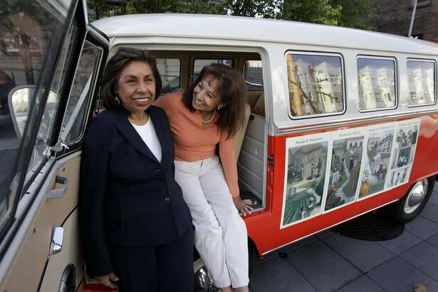 Sylvia Mendez, left,  and Sandra Robbie in front of the VW Bus that Robbie is driving cross country to promote her new documentary about the court case known as Mendez v.Westminster. Sylvia Mendez's parents brought a case before the Federal Court on behalf of their children regarding segregated schools in California. Photo taken in front of the Federal Courthouse in San Francisco  on May 8, 2007.  Liz Mangelsdorf/ The Chronicle