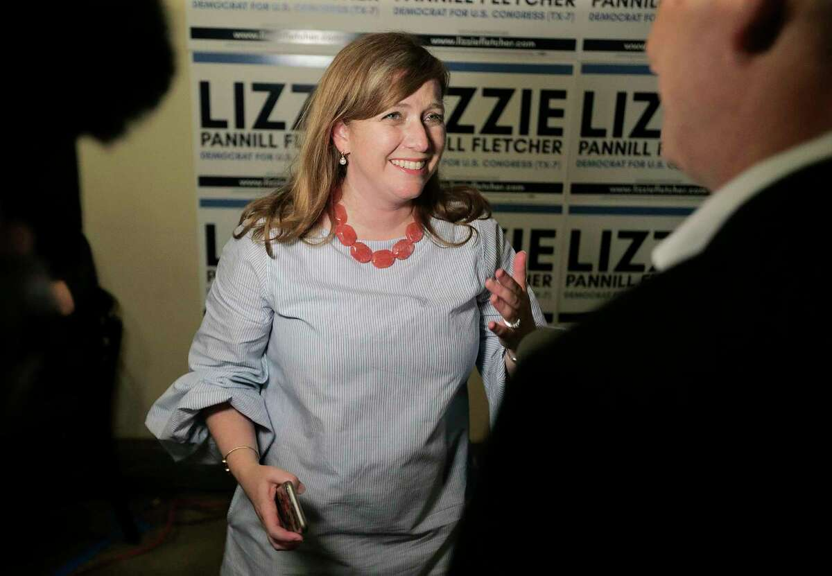 Lizzie Pannill Fletcher talks to the media during her election night party at Buffalo Grill on Tuesday, May 22, 2018 in Houston. Fletcher defeated Laura Moser in the 7th Congressional District Democratic runoff.