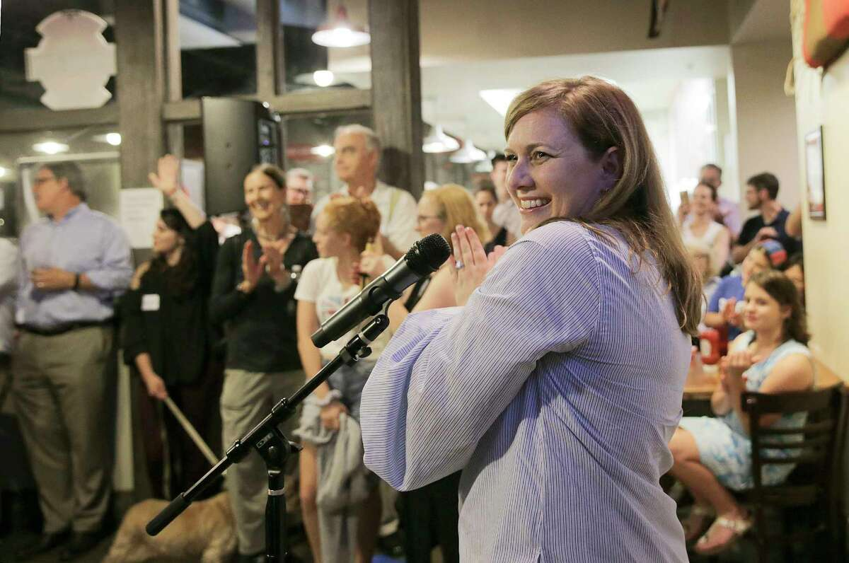 Lizzie Pannill Fletcher's election night party at Buffalo Grill on Tuesday, May 22, 2018 in Houston. Fletcher defeated Laura Moser in the 7th Congressional District Democratic runoff.