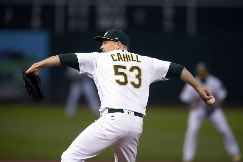 Trevor Cahill showed shades of 2010 through six shutout innings before giving up a game-tying, seventh-inning homer. Photo: D. Ross Cameron / Associated Press