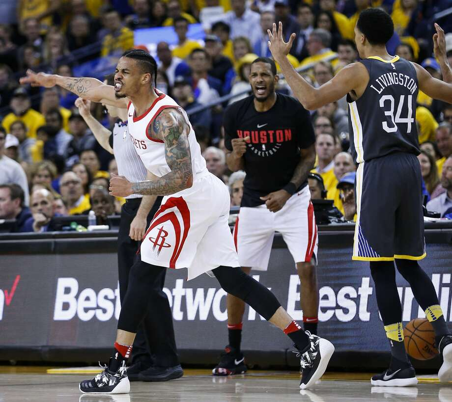 Houston Rockets guard Gerald Green (14) celebrates in front of Golden State Warriors guard Shaun Livingston (34) as the clock runs out during the second half of Game 4 of the Western Conference Finals at Oracle Arena Tuesday, May 22, 2018 in Oakland. (Michael Ciaglo / Houston Chronicle) Photo: Michael Ciaglo/Houston Chronicle