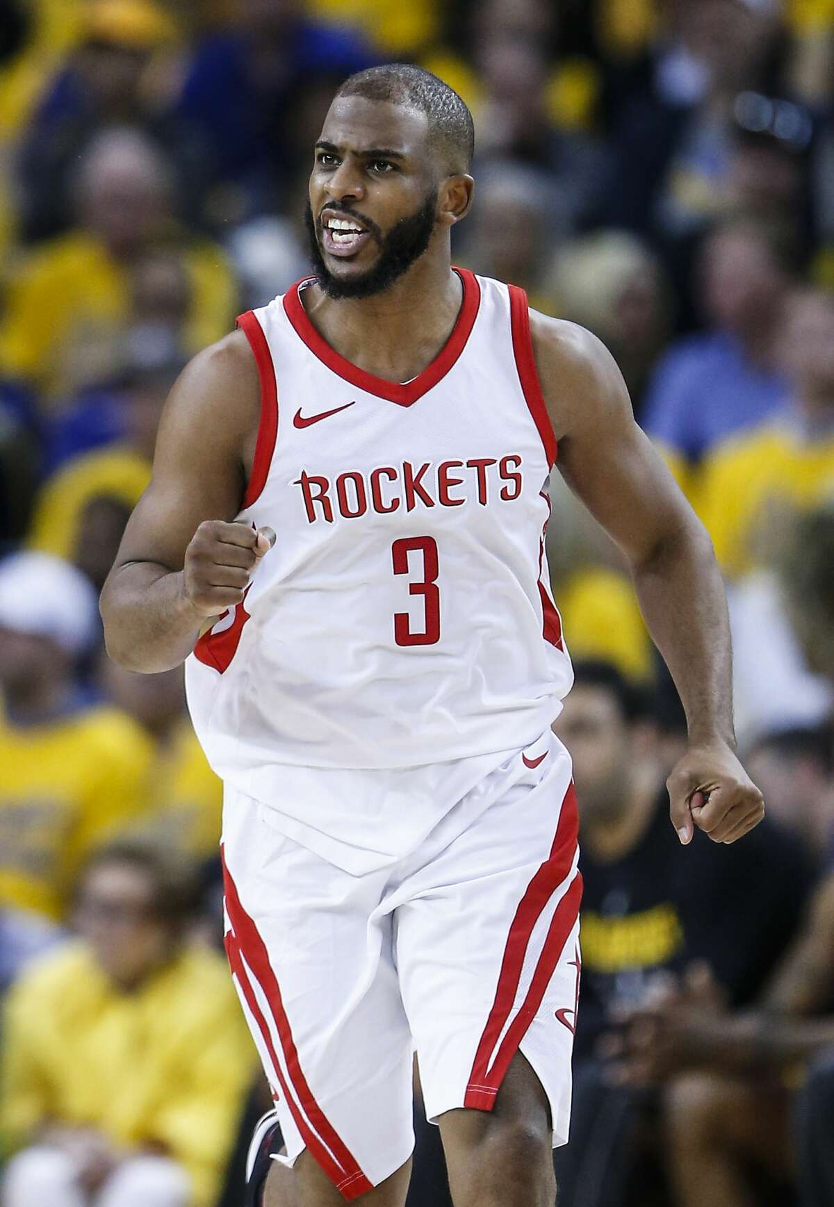 Houston Rockets guard Chris Paul (3) runs back up the court after scoring a 3-pointer against the Golden State Warriors during the second half of Game 4 of the Western Conference Finals at Oracle Arena Tuesday, May 22, 2018 in Oakland. (Michael Ciaglo / Houston Chronicle)