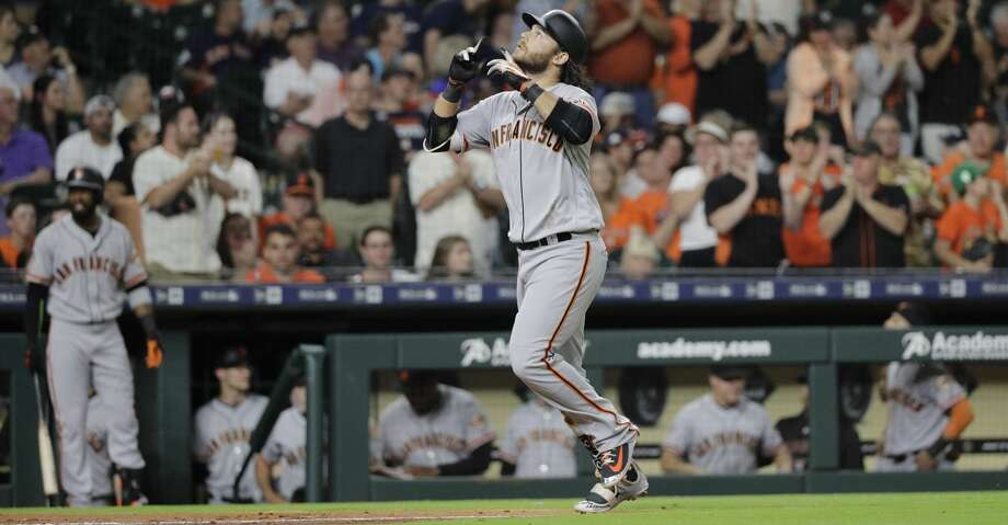 San Francisco Giants' Brandon Crawford reacts after hitting a two-run home run against the Houston Astros during the fifth inning of a baseball game Tuesday, May 22, 2018, in Houston. (AP Photo/David J. Phillip) Photo: David J. Phillip/Associated Press