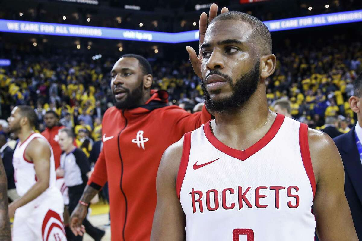 Houston Rockets guard Chris Paul (3) walks off the floor after the Rockets 94-92 win over the Golden State Warriors in Game 4 of the Western Conference Finals at Oracle Arena Tuesday, May 22, 2018 in Oakland. (Michael Ciaglo / Houston Chronicle)