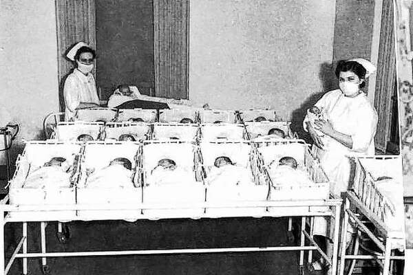 When Alton Memorial Hospital was built, the nursery capacity was set at sixteen, and no one expected a baby boom. The stork made several visits to the hospital, filling all the bassinets in March 1939 and Superintendent Graves drove to St. Louis to pick up additional beds. In an emergency, they said a dresser drawer made a good bed, being about the same size as a bassinet, with the necessary protection of side and end boards. At one time in 1940, the nursery census was twenty-six, and included two sets of twins. That was one over the new nursery capacity of twenty-five. The hospital showed large increases in patients in 1942, and babies in higher numbers.