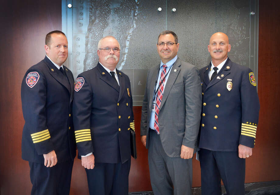 Sen. Jim Stamas, R-Midland, welcomed Midland Fire Department Chief Chris Coughlin to the Michigan Capitol on Wednesday. Stamas and Coughlin testified before the Senate Regulatory Reform Committee in support of Senate Bill 279, Stamas' legislation to require the state fire marshal's designee on the Construction Code Commission to be certified as a fire protection specialist or as a fire inspector and plans examiner by the National Fire Protection Association. From left: Midland Fire Department Assistant Chief Josh Mosher, Coughlin, Stamas and Howell Area Fire Department Chief Andrew Pless.