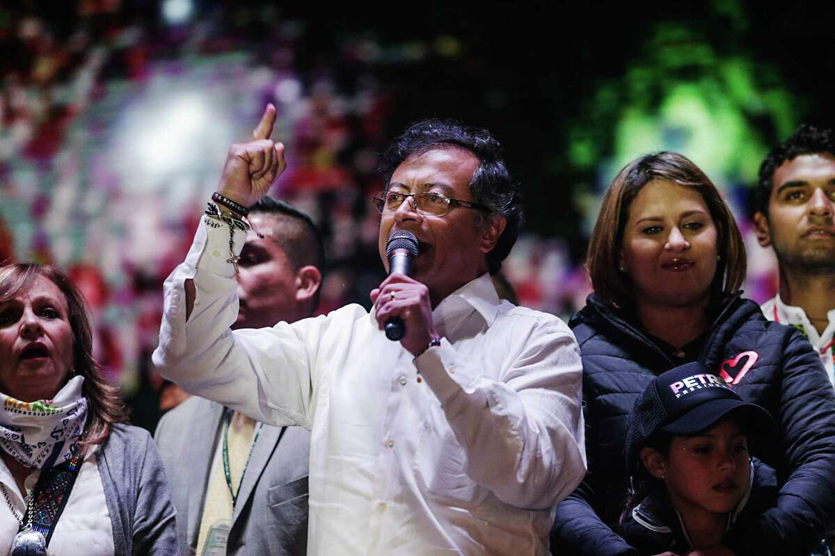Gustavo Petro (center), presidential candidate for the Progressivists Movement Party, speaks during a campaign rally in Bogota, Colombia, on May 17, 2018.