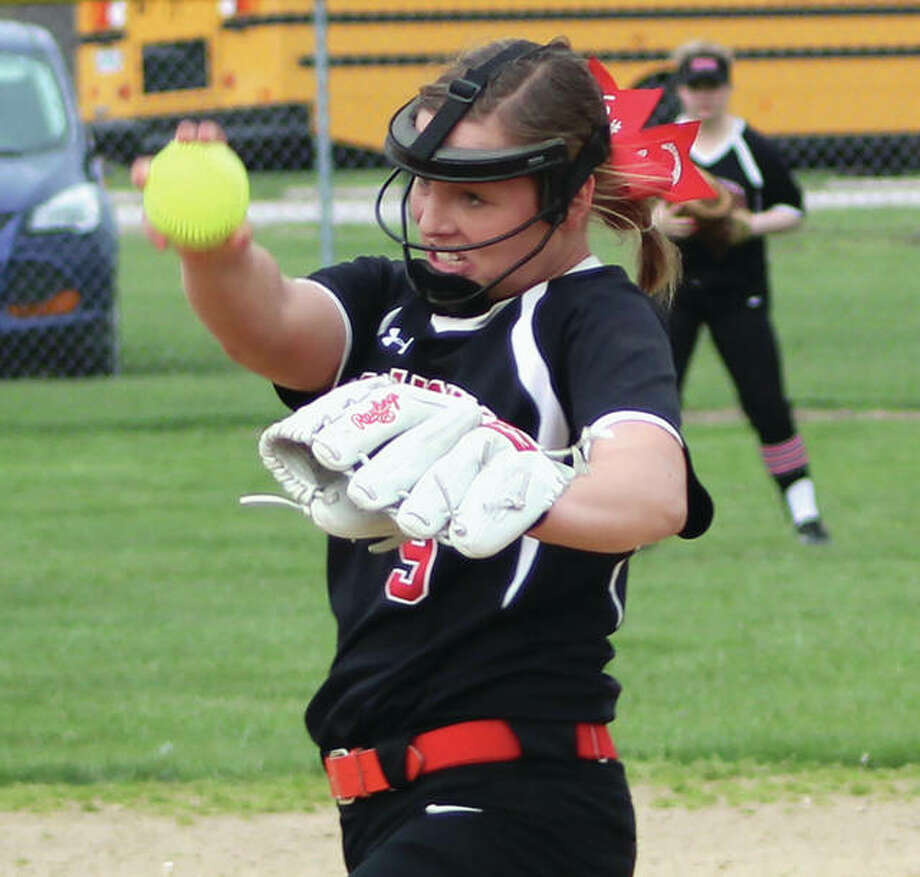 Calhoun's Sydney Baalman struck out 13 in a one-hit shutout to lead the Warriors to a 1-0 semifinal victory over Brown County on Tuesday at the Camp Point Class 1A Sectional. Photo:       Greg Shashack / The Telegraph