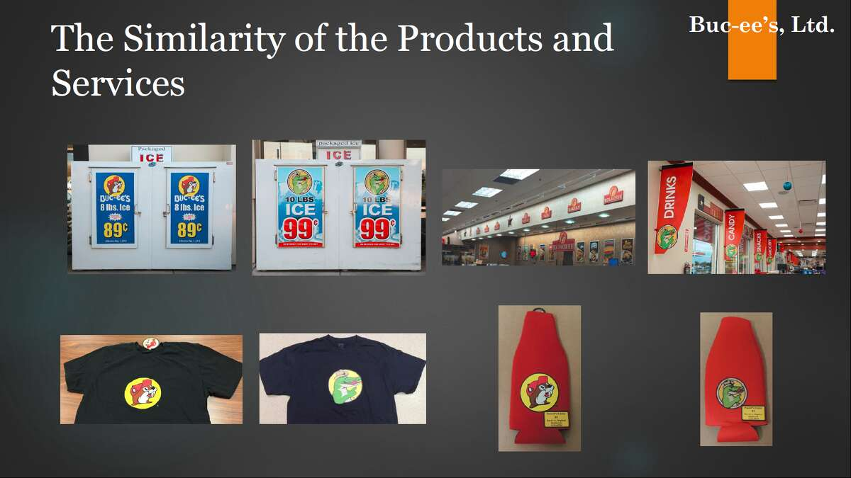 A screenshot of a slideshow presentation used by Buc-ee's in their 2018 lawsuit against Choke Canyon. These images were used as a demonstrative to the jury during opening and closing statements.
