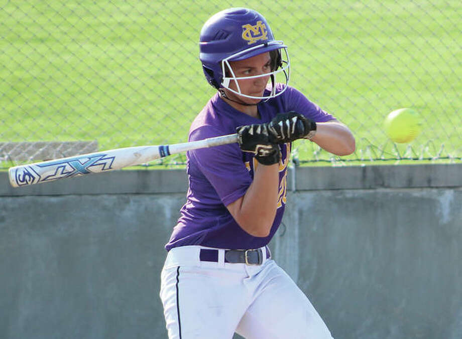 CM senior Susan Buchanan checks her swing on a pitch that comes in high for a ball during a MVC softball game against Waterloo on May 9 at the Bethalto Sports Complex. The Eagles' season ended Tuesday on their home field with a loss to Mascoutah in the CM Class 3A Regional. Photo:       Greg Shashack / The Telegraph