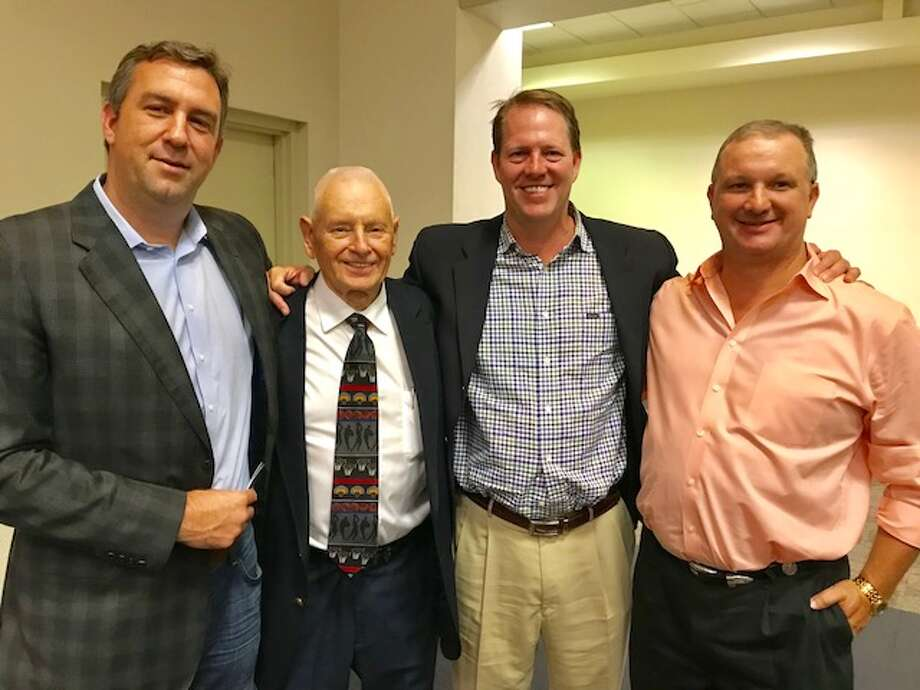 Former Plainview High School basketball player Blaine Brunson (left) stands with Hall of Fame honoree Carl Irlbeck, McAlan Duncan and Carl's son, Bruce, at the 2018 Texas Association of Basketball Coaches Hall of Fame ceremony on Saturday in San Antonio. Irlbeck coaches for almost 50 years and won nine state championships.