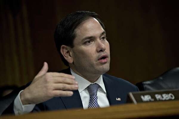 Sen. Marco Rubio, R-Fla., questions witnesses during a Senate Intelligence Committee hearing in Washington, on March 30, 2017.