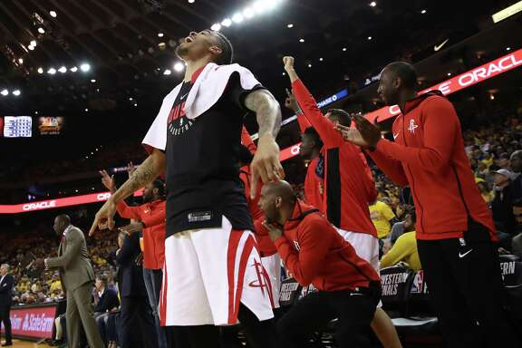 OAKLAND, CA - MAY 22:  Gerald Green #14 of the Houston Rockets reacts on the bench to a play against the Golden State Warriors during Game Four of the Western Conference Finals of the 2018 NBA Playoffs at ORACLE Arena on May 22, 2018 in Oakland, California. NOTE TO USER: User expressly acknowledges and agrees that, by downloading and or using this photograph, User is consenting to the terms and conditions of the Getty Images License Agreement.