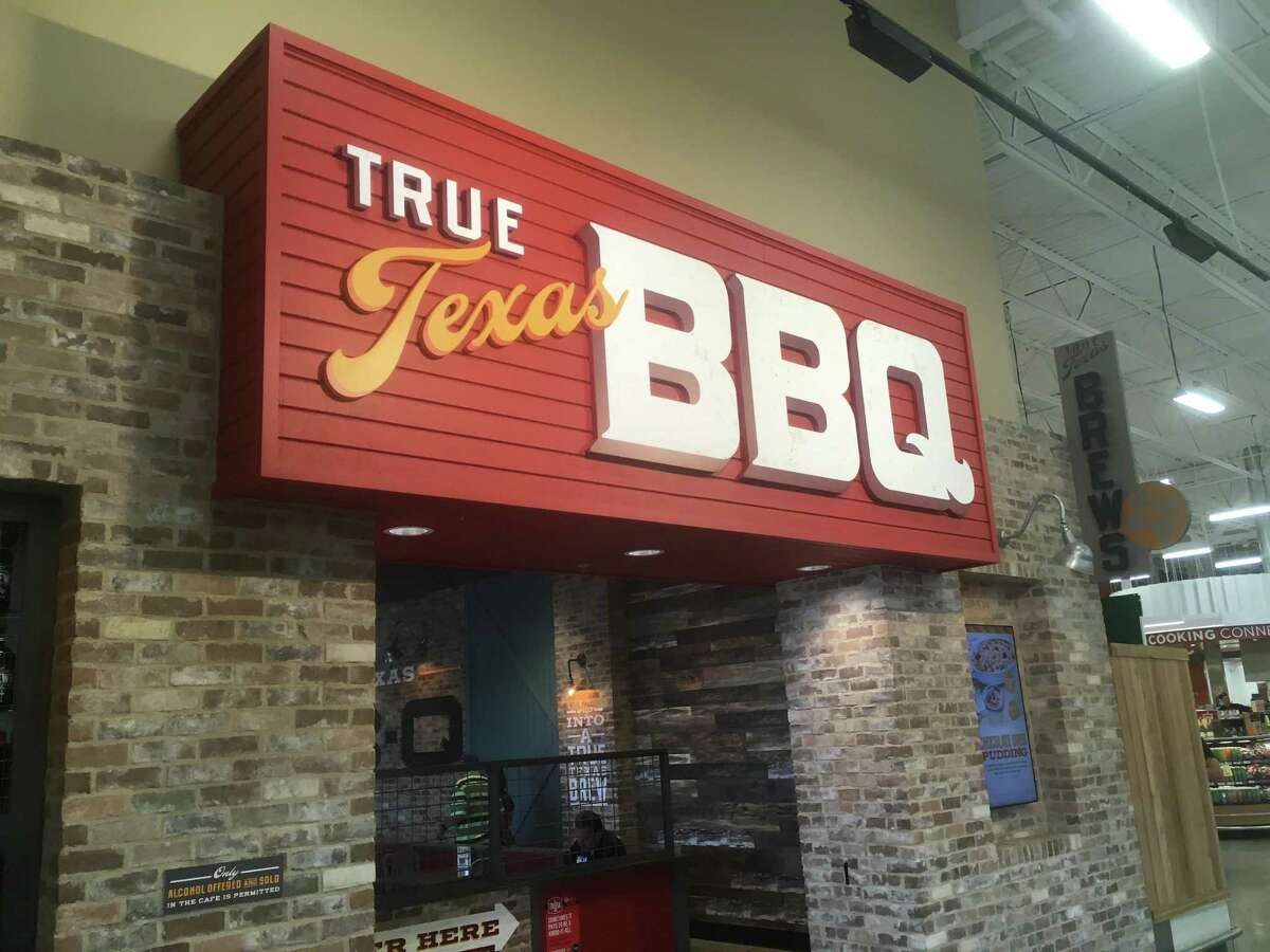 The signage at the entrance to True Texas BBQ, located inside the H-E-B at 17238 Bulverde Road.