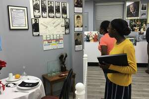 Nia Adeogun, who won the Katy VFW 9182 Youth Essay contest, checks out the rebuilt Katy Veterans Memorial Museum at 6202 George Bush Drive. She was accompanied by her mother, Nichele Adeogun. The VFW celebrated the reopening of its post and museum on May 17.
