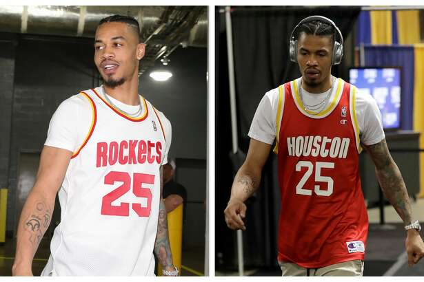 The Rockets' Gerald Green wore the white Robert Horry Rockets jersey to Game 2 of the Western Conference final and the red Robert Horry Rockets jersey to Game 4 of the series.