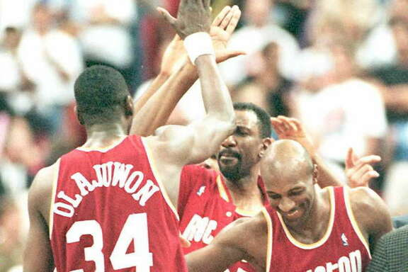 Hakeem Olajuwon and Clyde Drexler teamed up to give the Rockets a thrilling Game 1 win at Orlando in the 1995 NBA Finals. It's among the many memorable road wins in the franchise's playoff history.