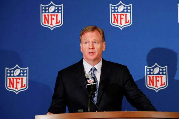 NFL commoner Roger Goodall announces that New Orleans and Phoenix have been awarded Super Bowls during the NFL owner's spring meeting Wednesday, May 23, 2018, in Atlanta. (AP Photo/John Bazemore)