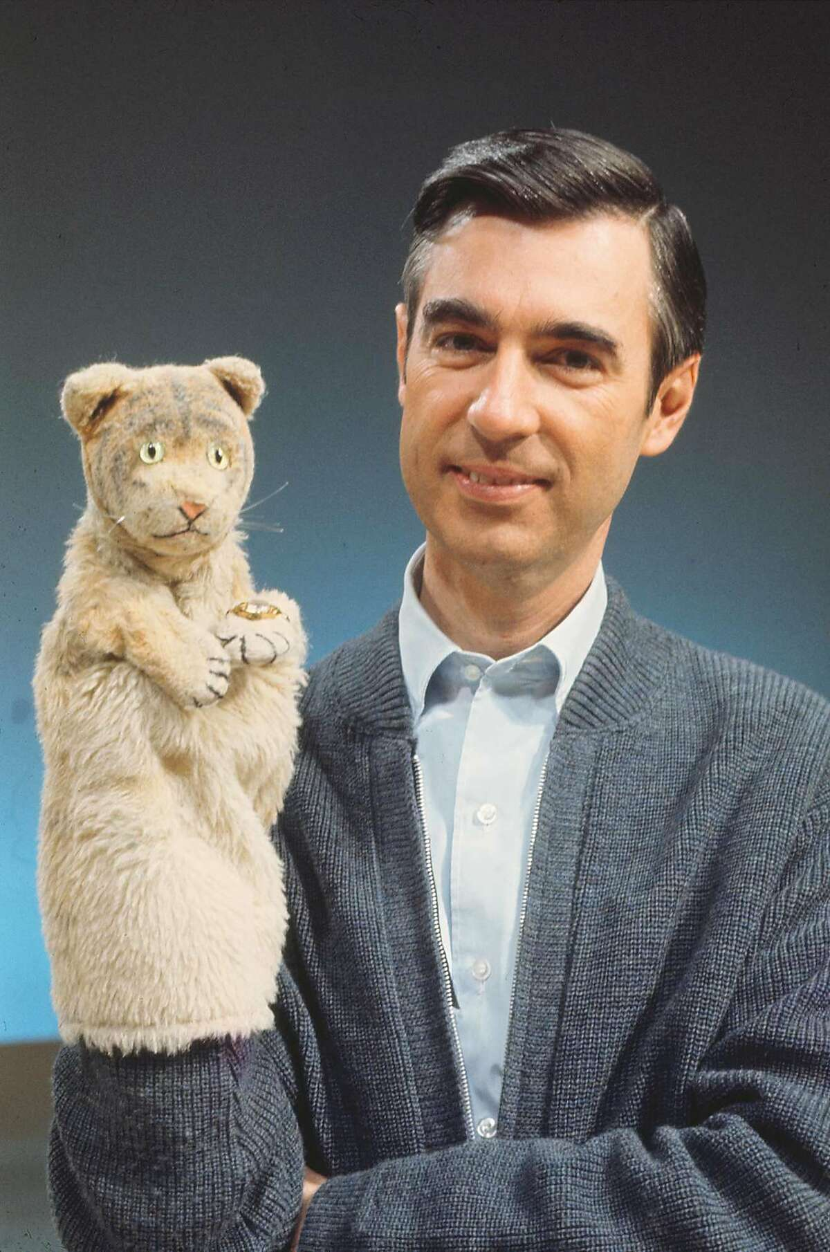 """Fred Rogers with Daniel Tiger from his show """"Mister Rogers' Neighborhood"""" from the film, """"Won't You Be My Neighbor?"""".Credit: The Fred Rogers Company"""