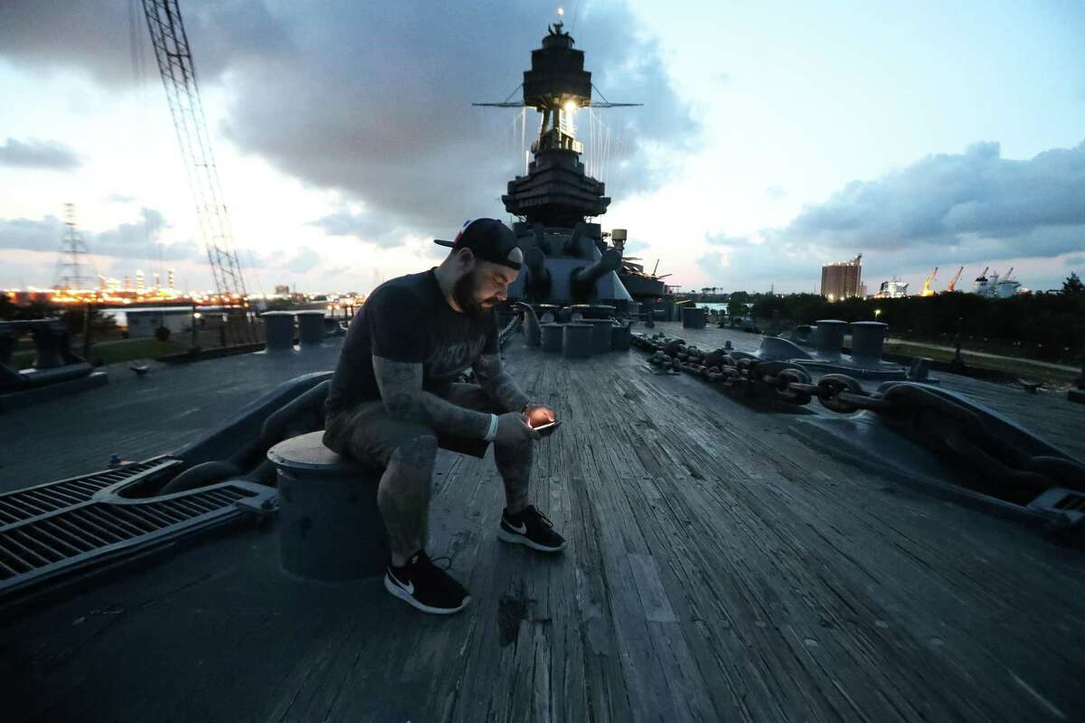 Houston Chronicle Reporter Craig Hlavaty reports from his adventure of spending the night on Battleship Texas. See more photos from a night spent aboard the ship...