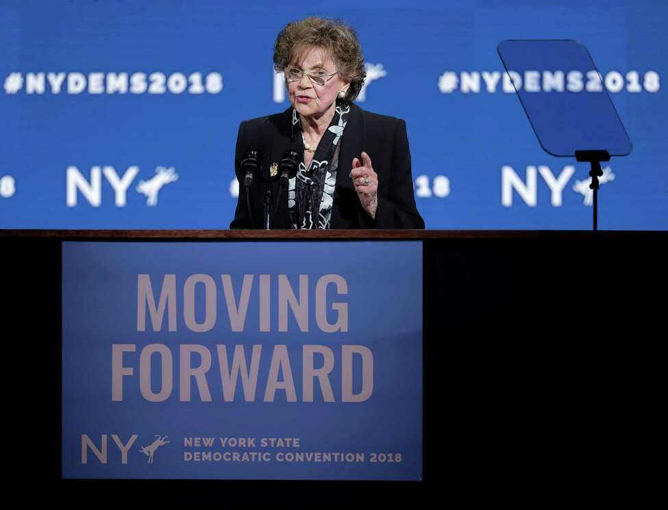 Matilda Cuomo, mother of Gov. Andrew Cuomo, speaks during the New York state Democratic convention, Wednesday, May 23, 2018, in Hempstead, N.Y.