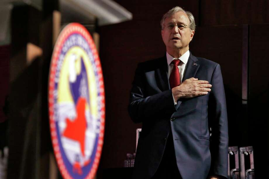 Chairman of the New York Republican State Committee Edward Cox says the Pledge of Allegiance during the New York state Republican Convention, in New York, Wednesday, May 23, 2018. Democratic and Republican nominees for governor, lieutenant governor and attorney general will be picked Wednesday as the two major parties hold their conventions. Photo: Richard Drew, AP / AP