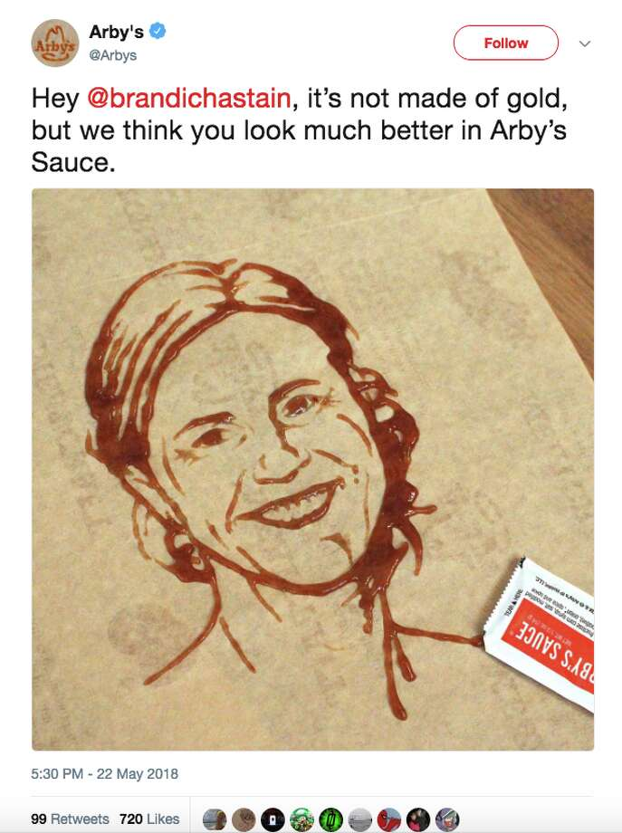 Fast food restaurant Arby's created a saucy likeness of Brandi Chastain, the legendary soccer player whose new Bay Area Sports Hall of Fame plaque drew ire after its Monday unveiling. Photo: Twitter Screen Grab