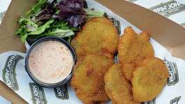 Fried Green Tomatoes with Dixie Sauce from Hoppin' John.
