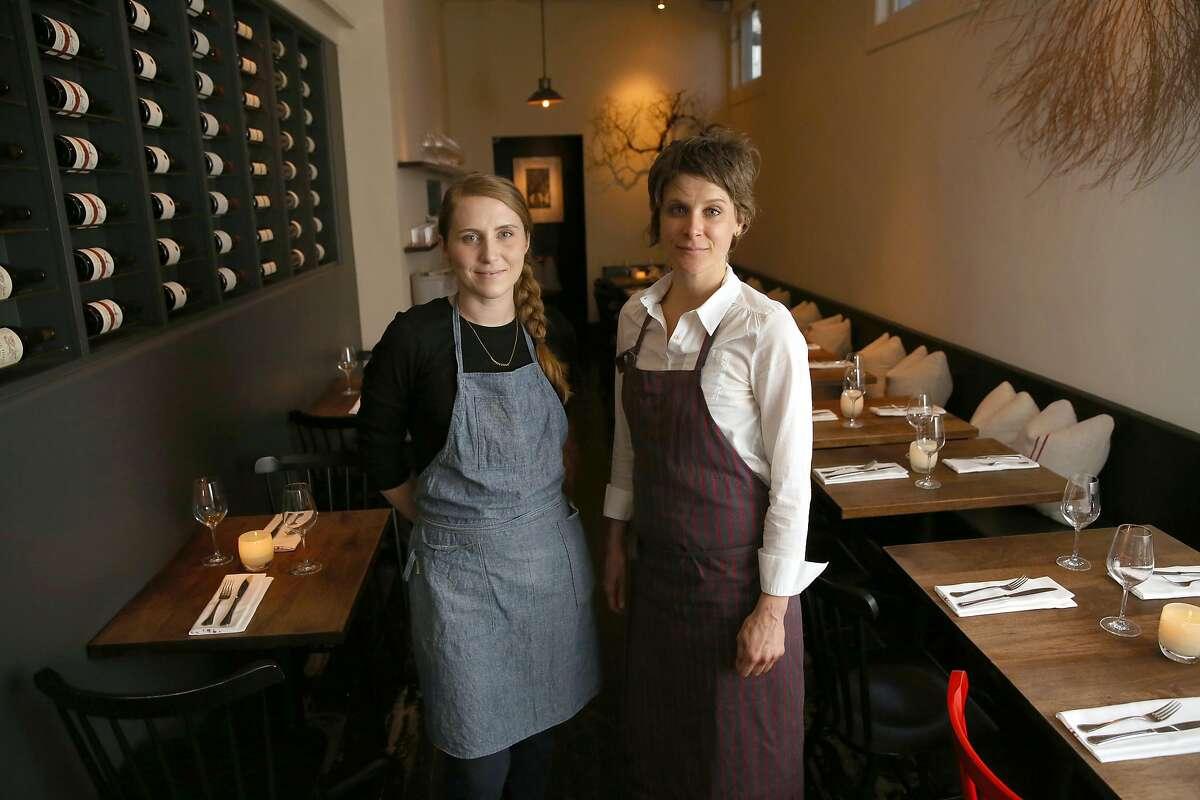 Executive pastry chef Sarah Bonar (left) and executive chef Michaela Rahorst (right) at Frances in San Francisco, California, on Tuesday, December 15, 2015.