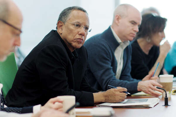 "Dean Baquet, executive editor of the New York Times, oversees the paper's morning meeting in a scene from Showtime's ""The Fourth Estate."""