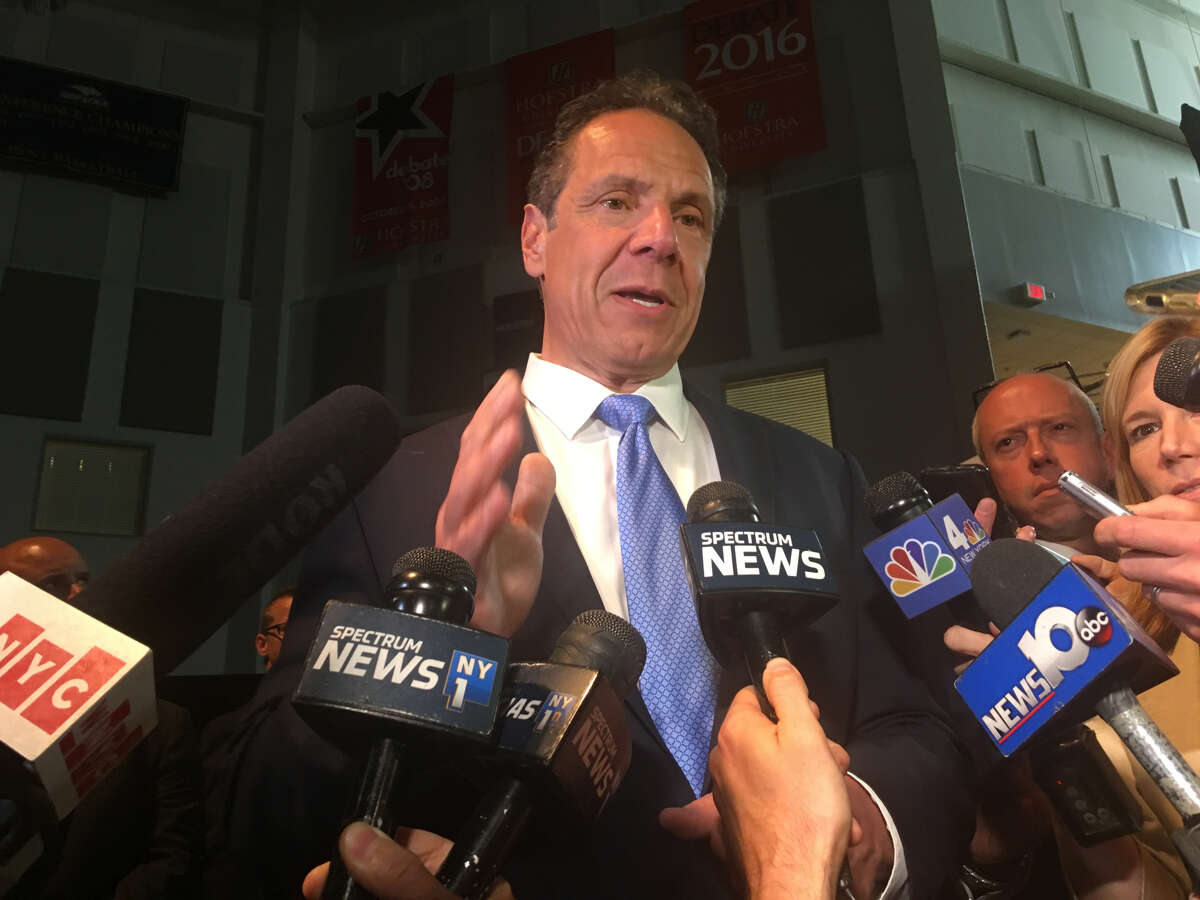 Gov. Andrew M. Cuomo addresses the media after being endorsed by Hillary Clinton at the Democratic Party's state convention in Long Island.