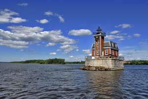 Times Union Staff photograph by Philip Kamrass -- View of the Hudson-Athens Lighthouse, looking northeast towards Hudson, in the Hudson River in Hudson, NY on Thursday July 12, 2007. The lighthouse is being opened for tours once a month through October.FOR DANIELLE VICKERY STORY.