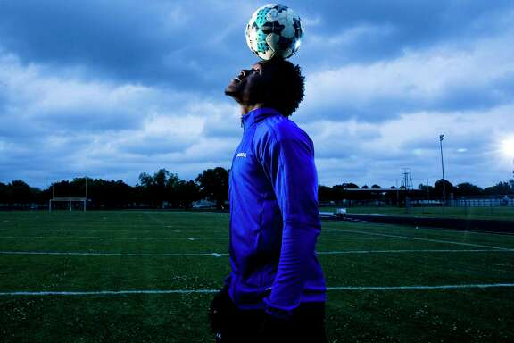 Alief Elsik High School forward Layee Kromah is the All Greater Houston boys soccer player of the year Tuesday, May 1, 2018 in Houston.