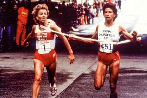 1985: The Freihofer's Run for Women is moved from its customary date in April to May 16th in order to avoid the unsettled Spring weather of previous years.   Betty Springs, the defending champion, and Francie Larrieu-Smith responded by producing the closest finish in Freihofer's history. Indeed, as they raced toward the finish line both athletes were so close that they were given the same time, a course record of 32.14, and a tie was declared. The first and second place prize money was combined and divided between Springs and Larrieu-Smith, who each get $4,500.