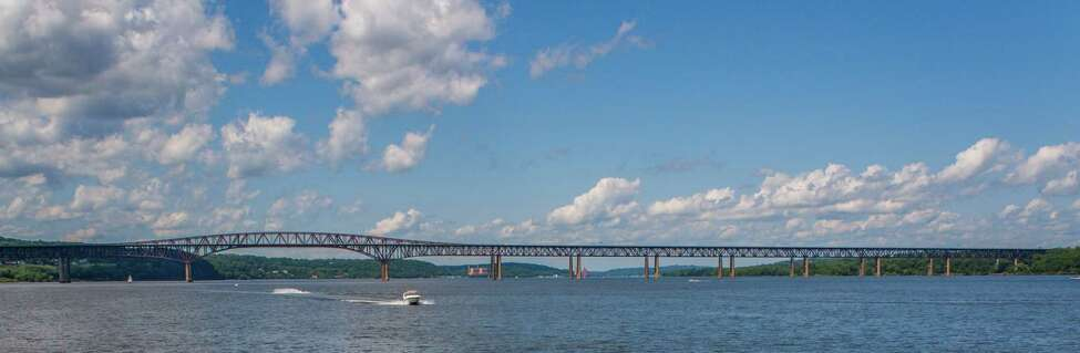 The picturesque Hudson River Valley as seen from the Hudson River in the Spring of 2009, Newburgh-Beacon Bridge in the forefront.