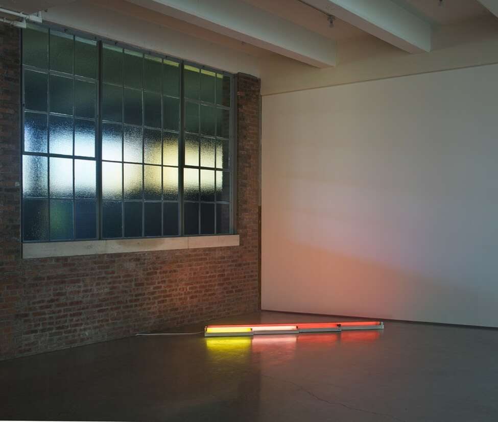 Dia. Dan Flavin, gold, pink, and red, red, 1964. c. Stephen Flavin/Artists Rights Society (ARS), New York.