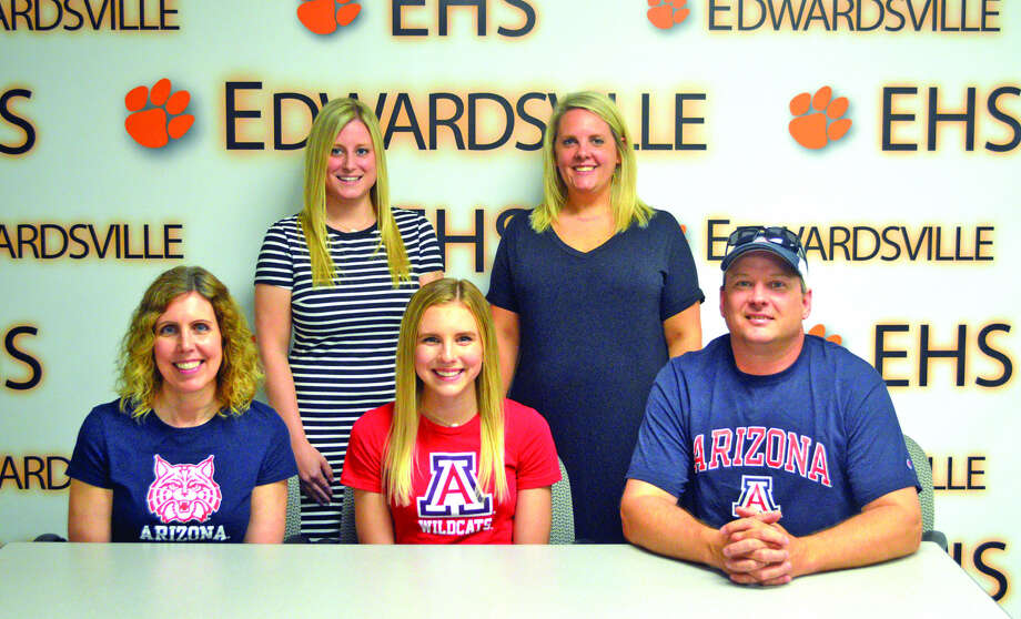 Edwardsville senior Paige Way will be a cheerleader at the University of Arizona. In the front row, from left to right, are mother Susan Way, Paige Way and father Jason Way. In the back row, from left to right, are EHS head coach Cayla Bowen and EHS assistant coach Ashley Walsh.