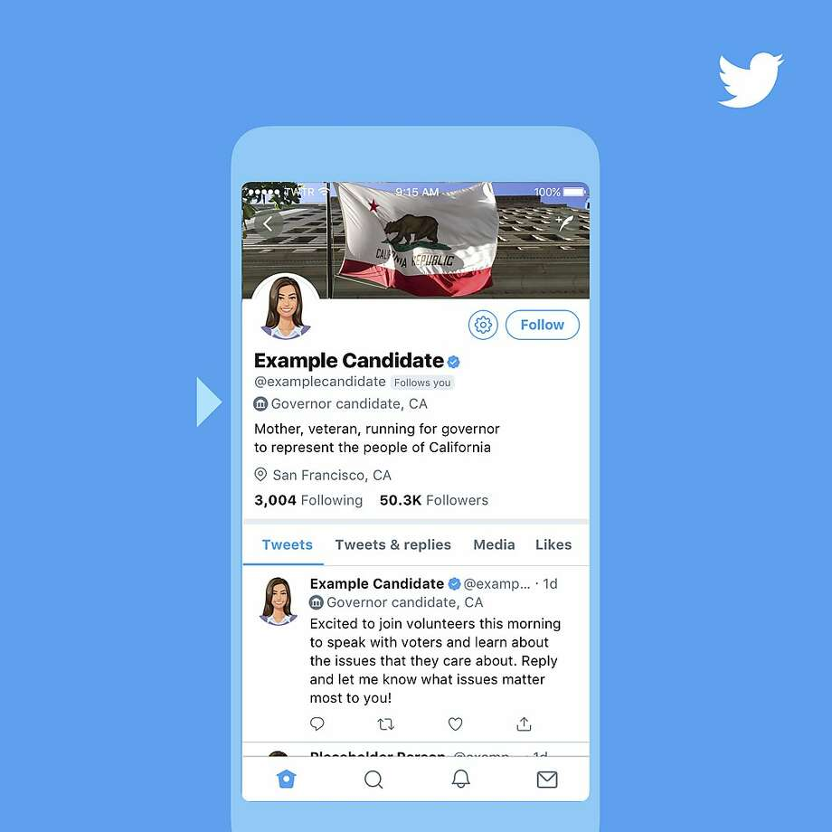 Twitter gave this example of a special label that will be added to the accounts and tweets of candidates. Photo: Twitter