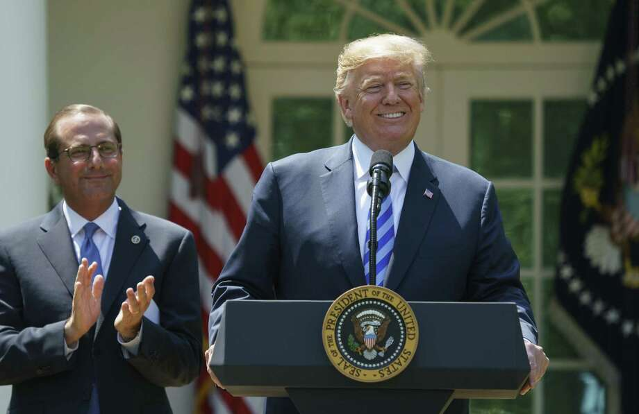 President Donald Trump speaks during an event about prescription drug prices with Health and Human Services Secretary Alex Azar in the Rose Garden of the White House on May 11. Photo: Carolyn Kaster /Associated Press / Copyright 2018 The Associated Press. All rights reserved.