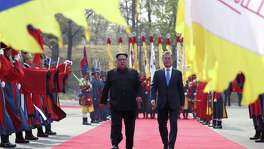 North Korean leader Kim Jong-un (left) walks alongside Moon Jae-in, the president of South Korea, at the demilitarized border village of Panmunjom in late April 27. A reader says Kim Jong-un may be getting the upper hand over President Trump regarding the proposed talks over the nuclear disarmament of North Korea.