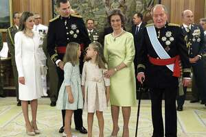 Spain's Queen Letizia, (from left) Spain's King Felipe VI, Spanish Princess Sofia, Spanish Crown Princess of Asturias Leonor, Spain's former Queen Sofia and Spain's former King Juan Carlos stand during a handing-over ceremony for the sash of the Capitain General in the Chamber of Audiences at the Zarzuela Palace. Spain's King Felipe VI began his reign in 2014.